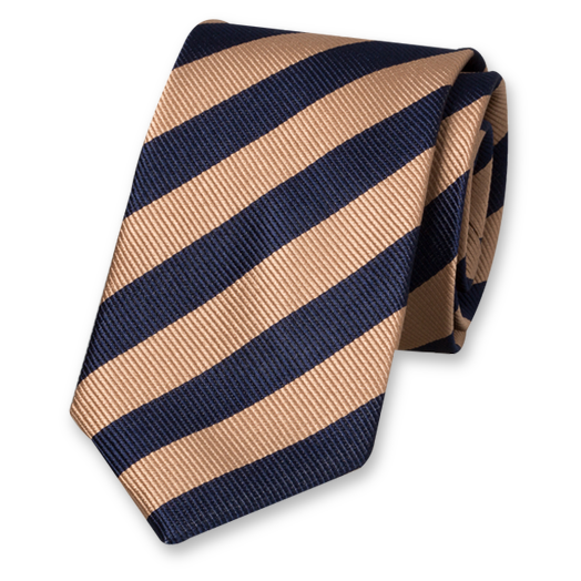Beige-Dark Blue Striped Tie - Silk (1)