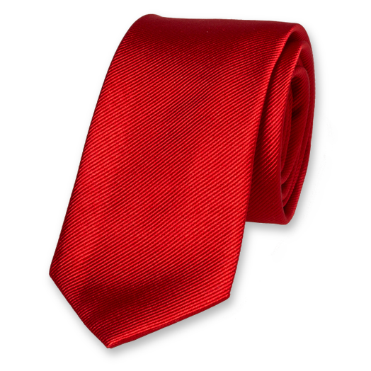 Bright Red Skinny Tie - Silk (1)