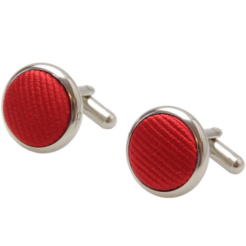 Bright Red Cufflinks - Silk (1)